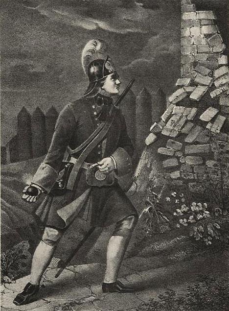 Potret seorang grenadier atau pelempar granat dari resimen Preobrazhensky pada 1700 – 1720. Sumber: