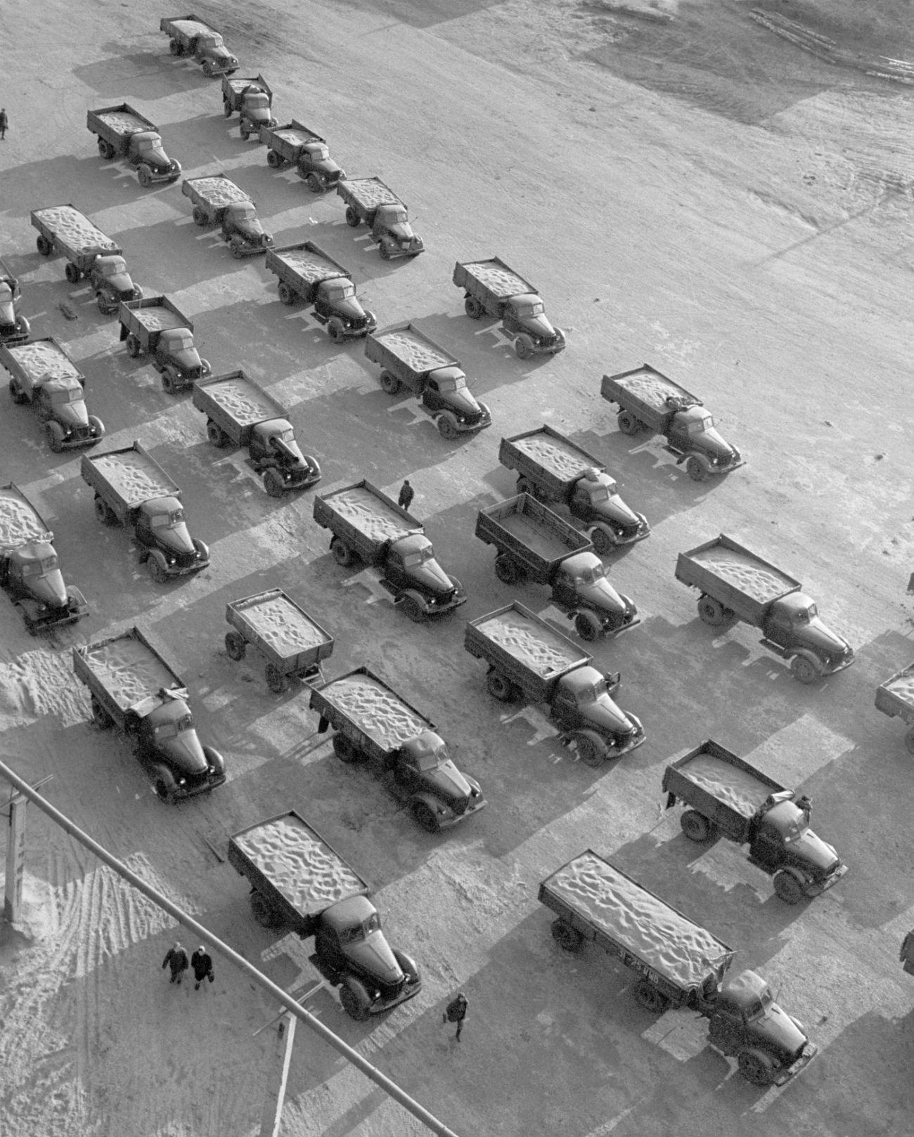 Fileira de caminhões carregados com grãos cultivados nas Terras Virgens (Foto: Vladímir Davidov/TASS)