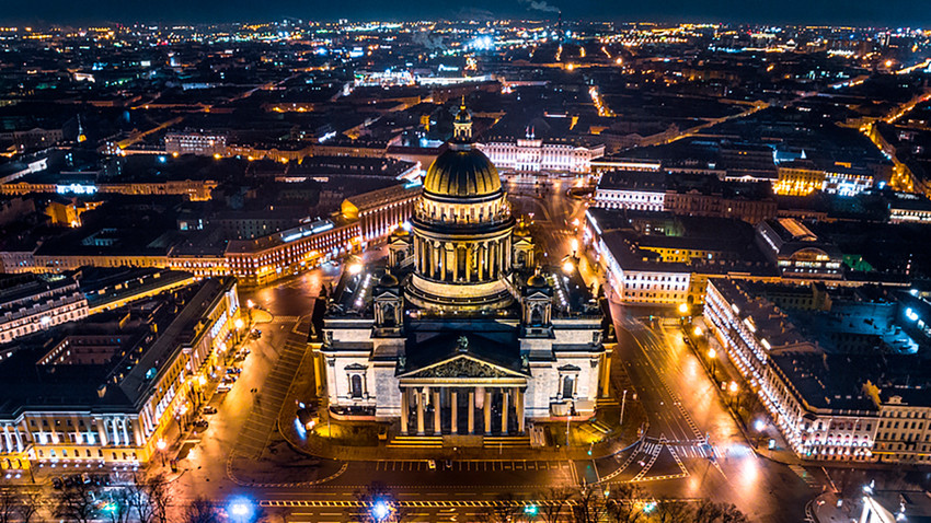 Saint Isaac's Cathedral in Saint Petersburg Aerial View