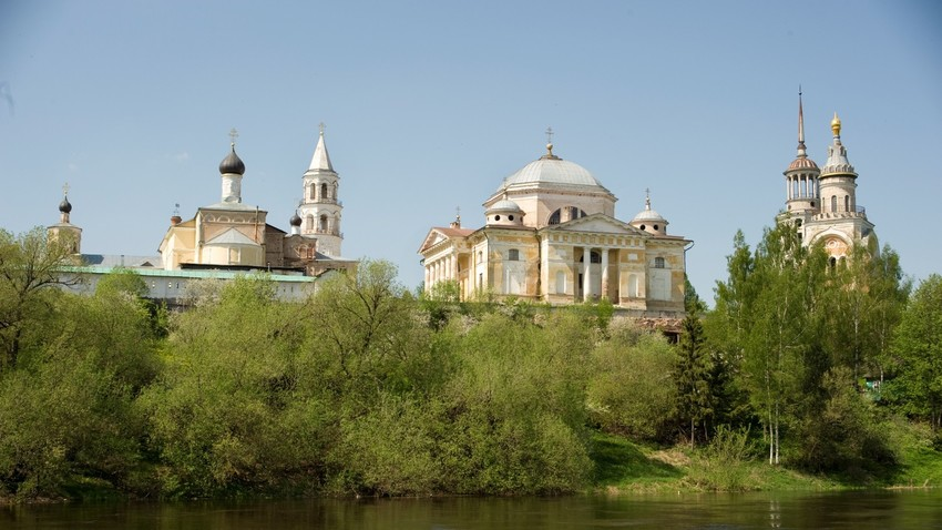 Torzhok. Monastery of Sts. Boris & Gleb. View from east bank of Tvertsa River.  May 14, 2010.