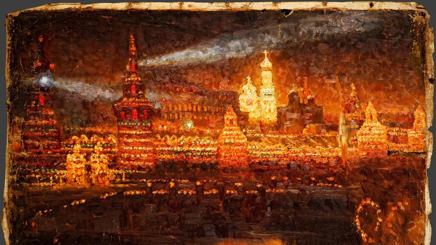Vassíli Surikov. Iluminação do Kremlin de Moscou, 1883