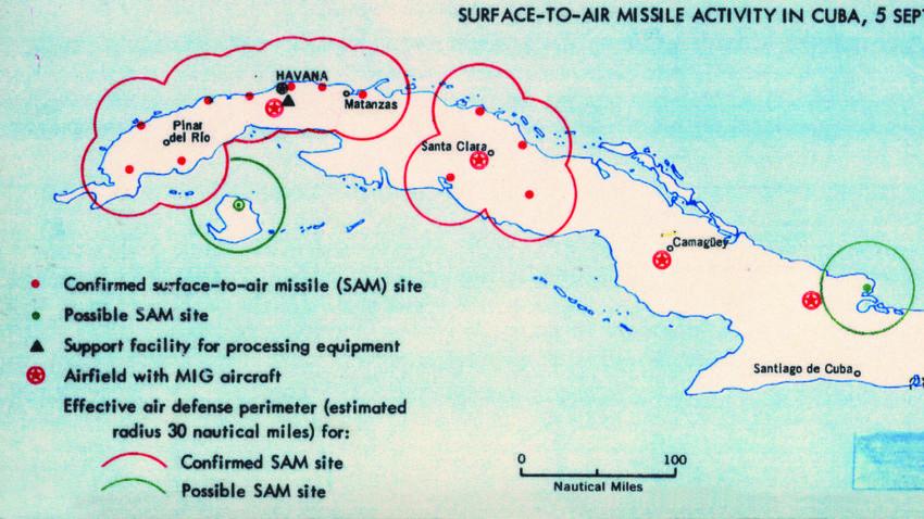 Karta položajev sovjetskih raket na Kubi (1962)