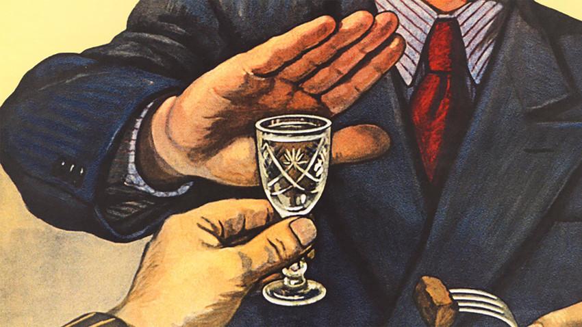 Pôster soviético para desistimulam consumo de bebidas alcoólicas