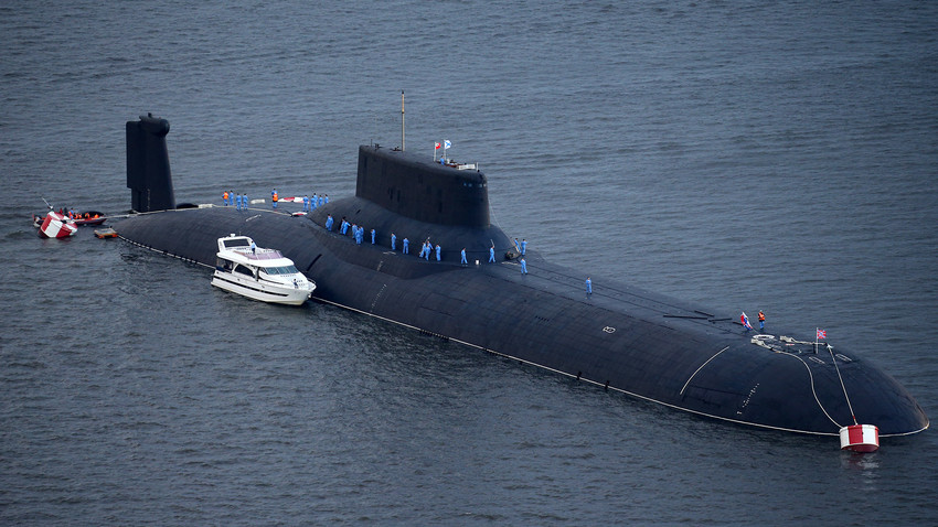 Russian Navy's TK-208 Dmitry Donskoy nuclear submarine arrives at the Leningrad Naval Base of the Russian Baltic Fleet in the town of Kronstadt on Kotlin Island.