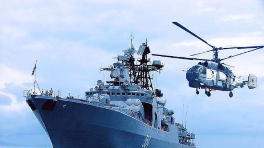 Sebuah kapal perang milik militer Rusia.