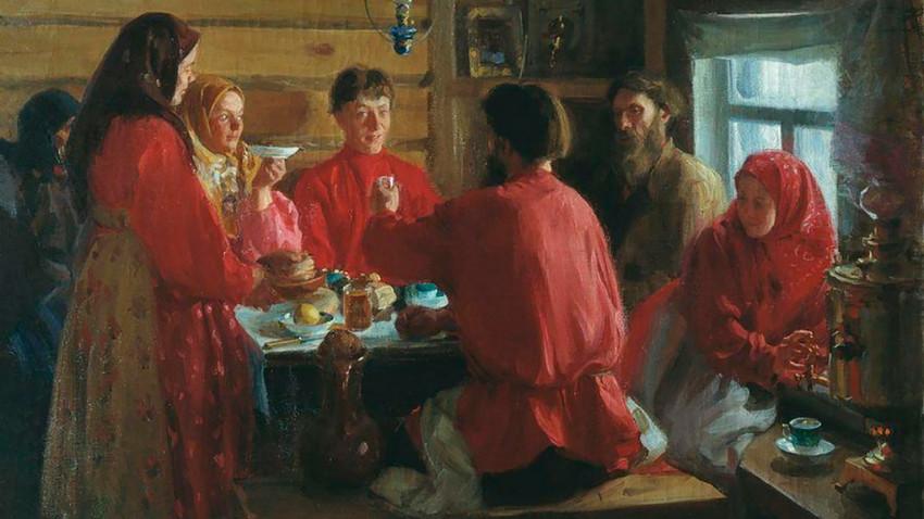 Во селска куќа. Слика на И. С. Куликов