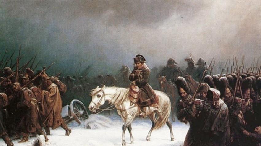 """У октобру 1812. године Наполеонова """"Велика армија"""" започела је хитну евакуациу. Сликар: Адолф Нортен"""
