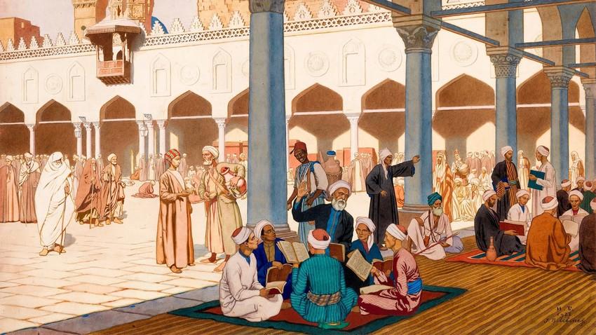 """Дворът на джамията """"Ал Ажар"""" в Кайро; подписана с инициали и датирана от 1928 г. Молив, акварел и гваш върху картон, 54,5 на 76 см."""