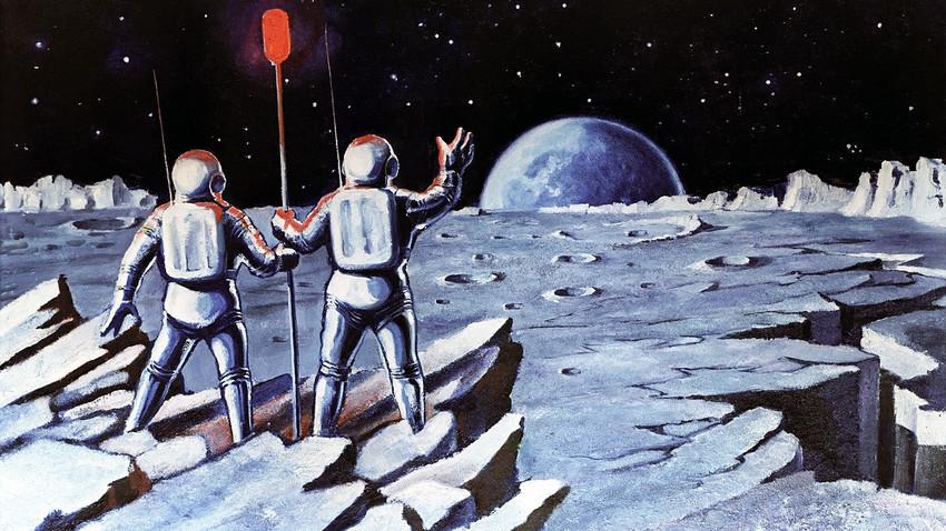 """Pintura """"Humanos na lua"""", do cosmonauta e artista Aleksêi Leônov./"""