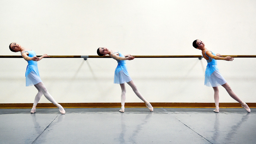 Students attend a class in the Bolshoi Ballet Academy