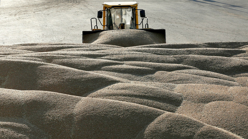 A driver operates a tractor to pile wheat grains at the drying house of the Solgonskoye farming company near the village of Talniki, southwest of the Siberian city of Krasnoyarsk, Russia.