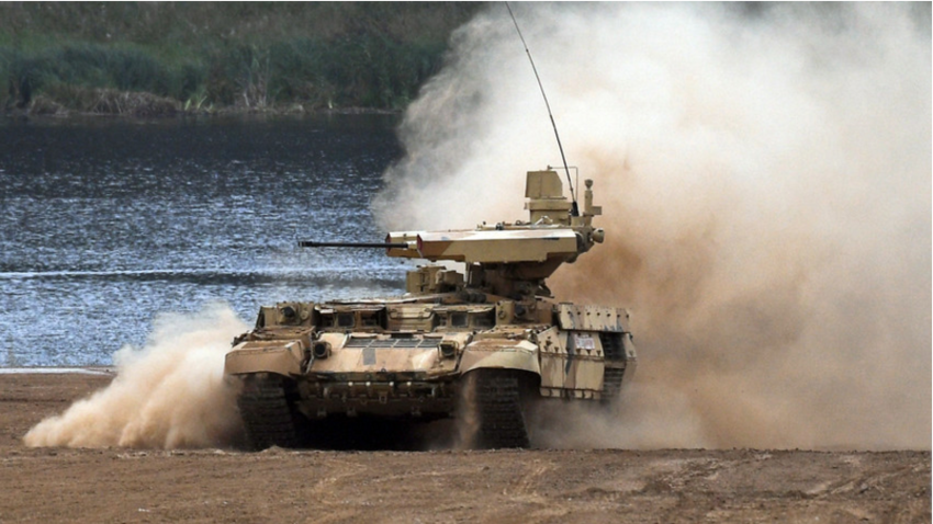 Podporno bojno gosenično vozilo Terminator-2 med razstavo sodobne oborožitve in posebne vojaške opreme na mednarodnem vojaškem in tehničnem forumu ARMIJA 2017 na testnem poligonu Alabino.