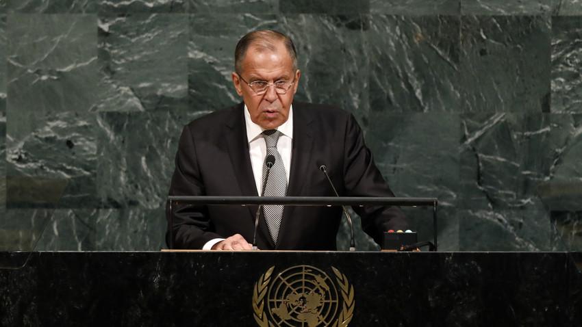 Menteri Luar Negeri Rusia Sergey Lavrov saat berpidato dalam Sidang Majelis Umum PBB ke-72