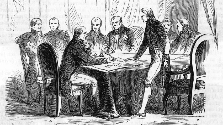 Ilustração retrata Congresso de Verona, que teve a participação da Santa Aliança e Reino Unido, em 1822