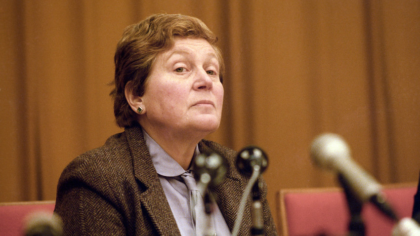 Svetlana Alliluyeva, daughter of Joseph Stalin, at a press conference.