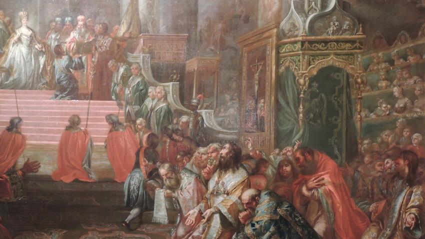Krönung von Katharina II. zur Zarin, 22. September 1762  Kopie von Gemälde von Stefano Torelli, heute Tretjakow-Galerie