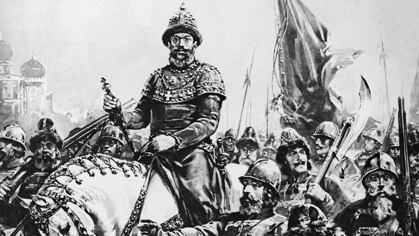 Porträt von Iwan dem Schrecklichen mit den ersten Soldaten Russlands