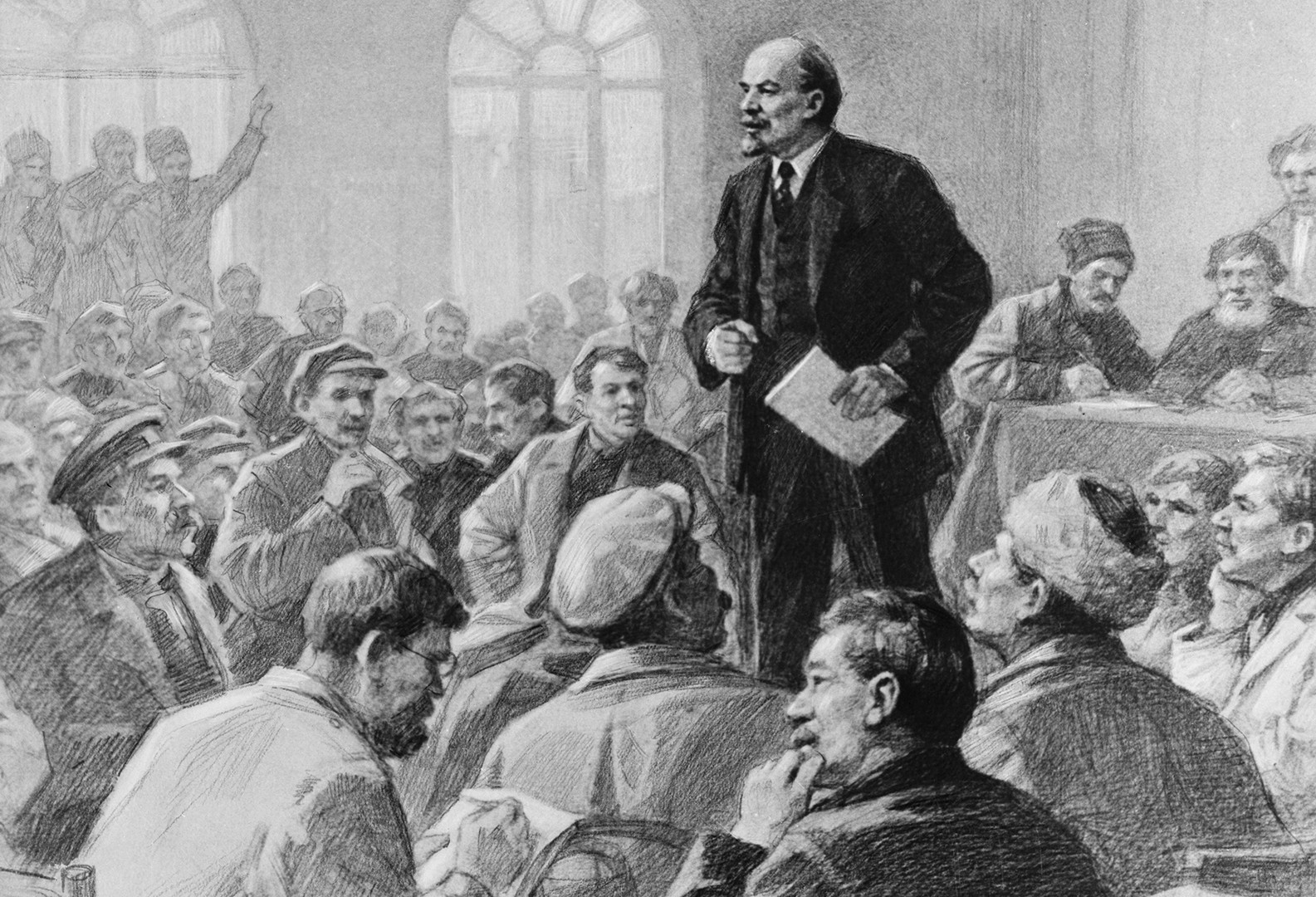 Vladimir Lenin gives a speech at a meeting.
