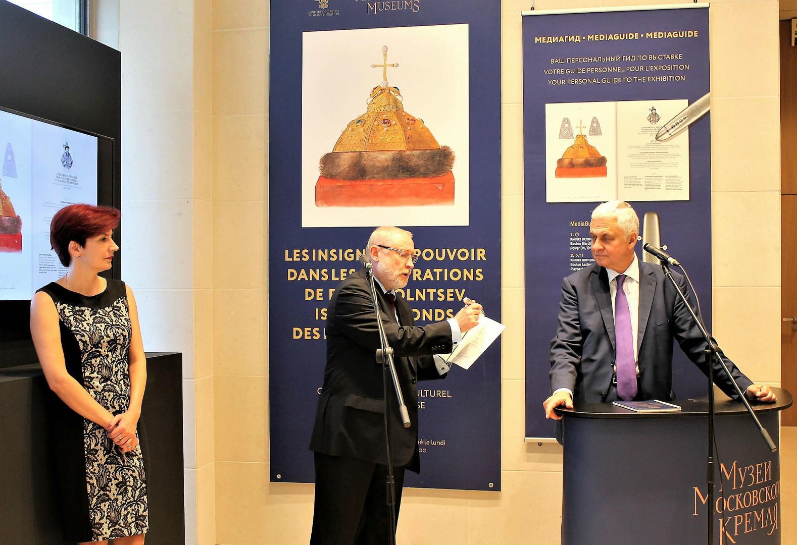 Ouverture de l'exposition par l'ambassadeur de Russie en France Alexandre Orlov, les représentants de l'édition Medialibr (concepteur du visite interactif) et des Musées du Kremlin de Moscou.