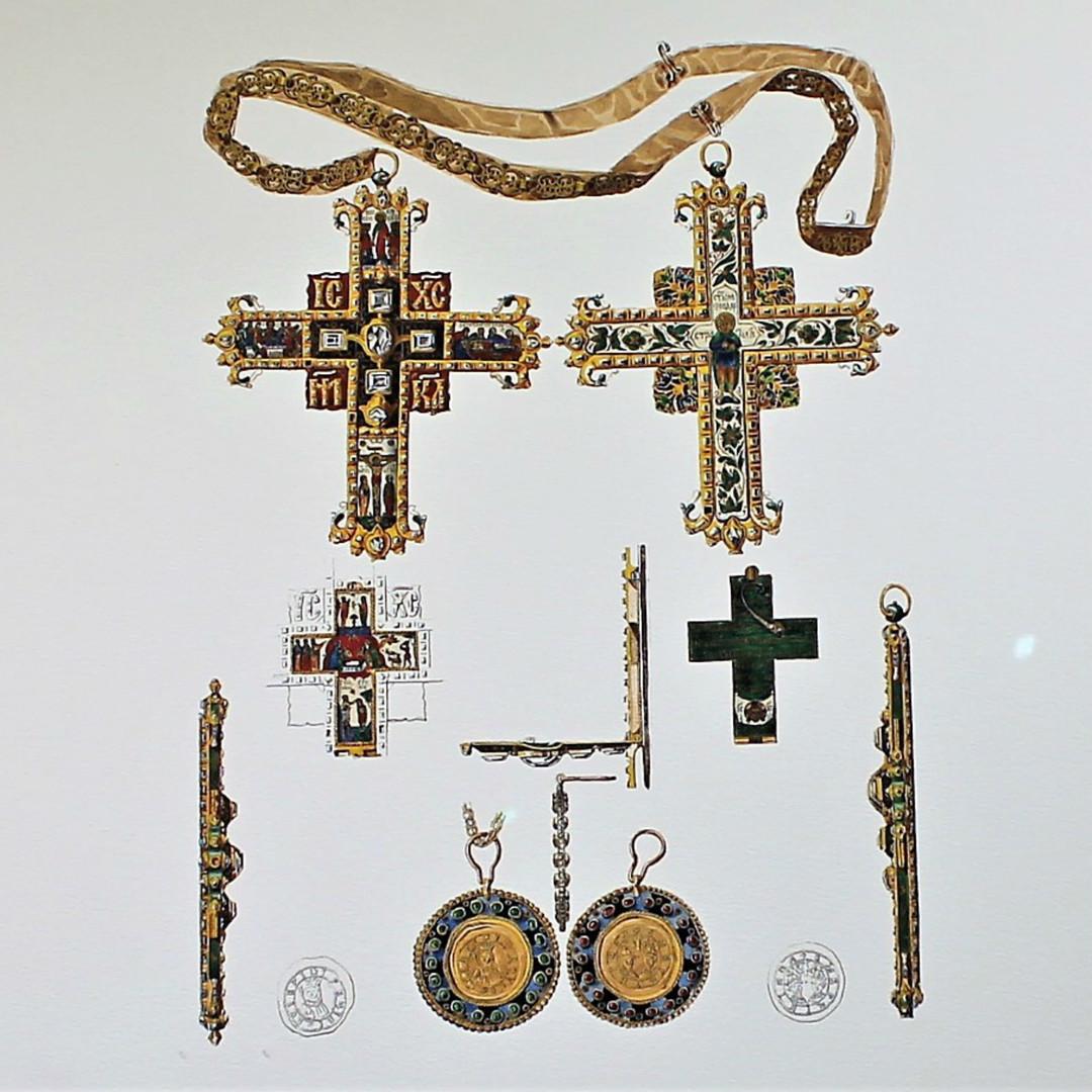 L'Encolpion (Croix pectorale) (1662-1682) et la Médaille du Prince Vassili Vassilievitch Golitsyne.