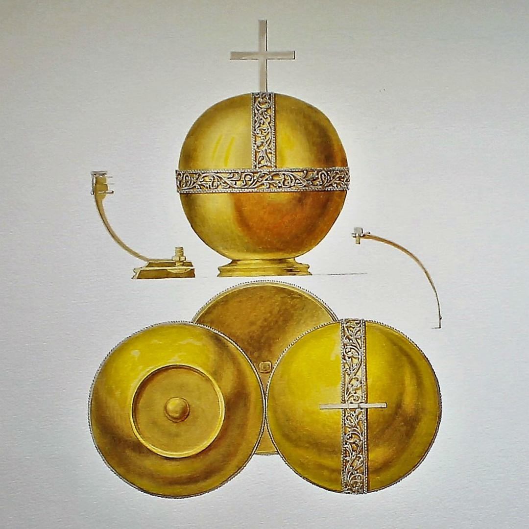 Orbe de l'Empereur Pierre II (1727). L'orbe d'or en forme de sphère surmontée d'une croix se distingue par sa petite taille et son poids réduit. L'aspect miniature de cet insigne s'explique par le fait qu'elle était destinée au jeune monarque Pierre II.