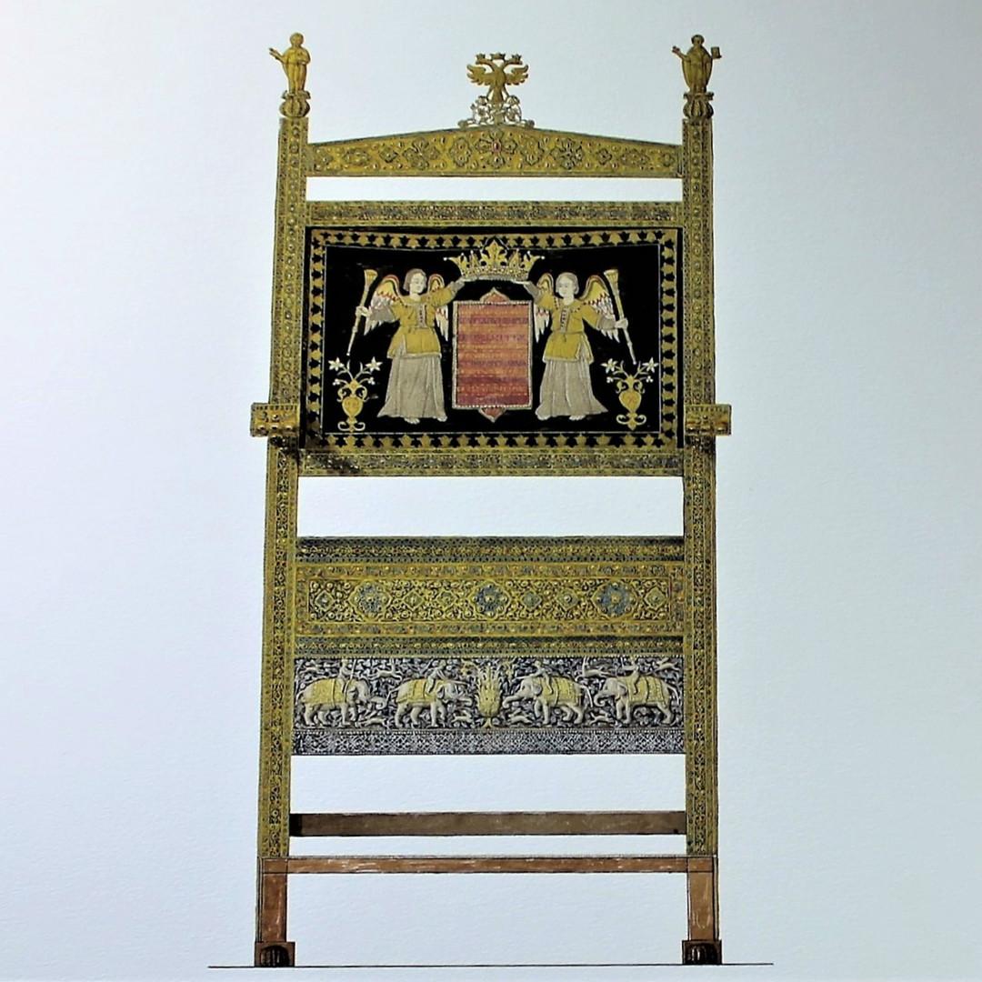 Trône de diamants (1659). Le trône fut offert au tsar Alexis Mikhaïlovitch.