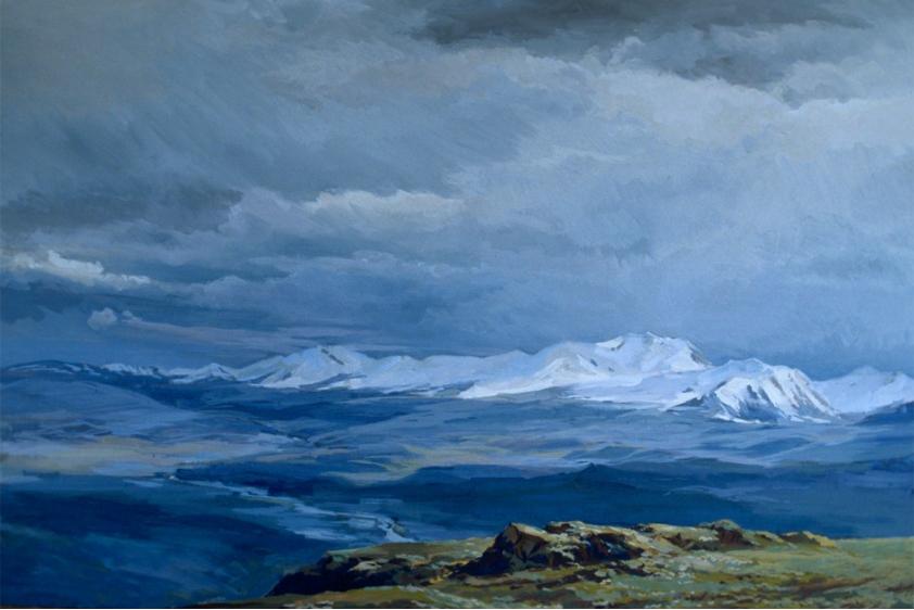 Slika »Planota Altaj« (1989) slikarja Jurija Korobejnikova.