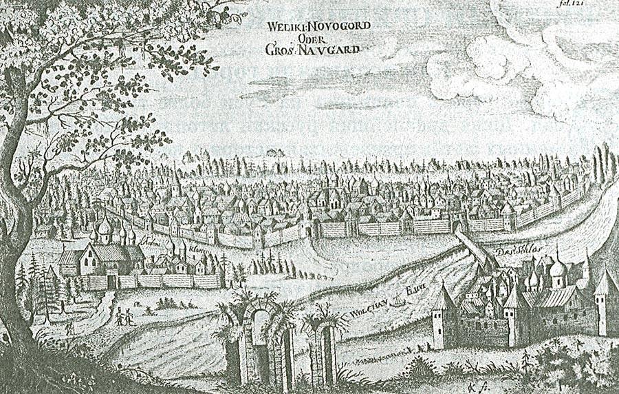 Nowgorod im 17. Jahrhundert, gezeichnet von Adam Olearius