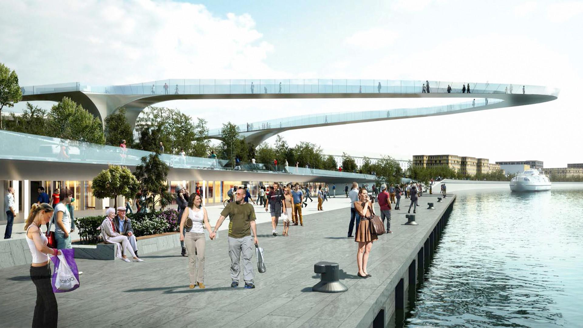 """Projeto da """"Ponte Flutuante"""" no Parque Zariadie, Moscou."""