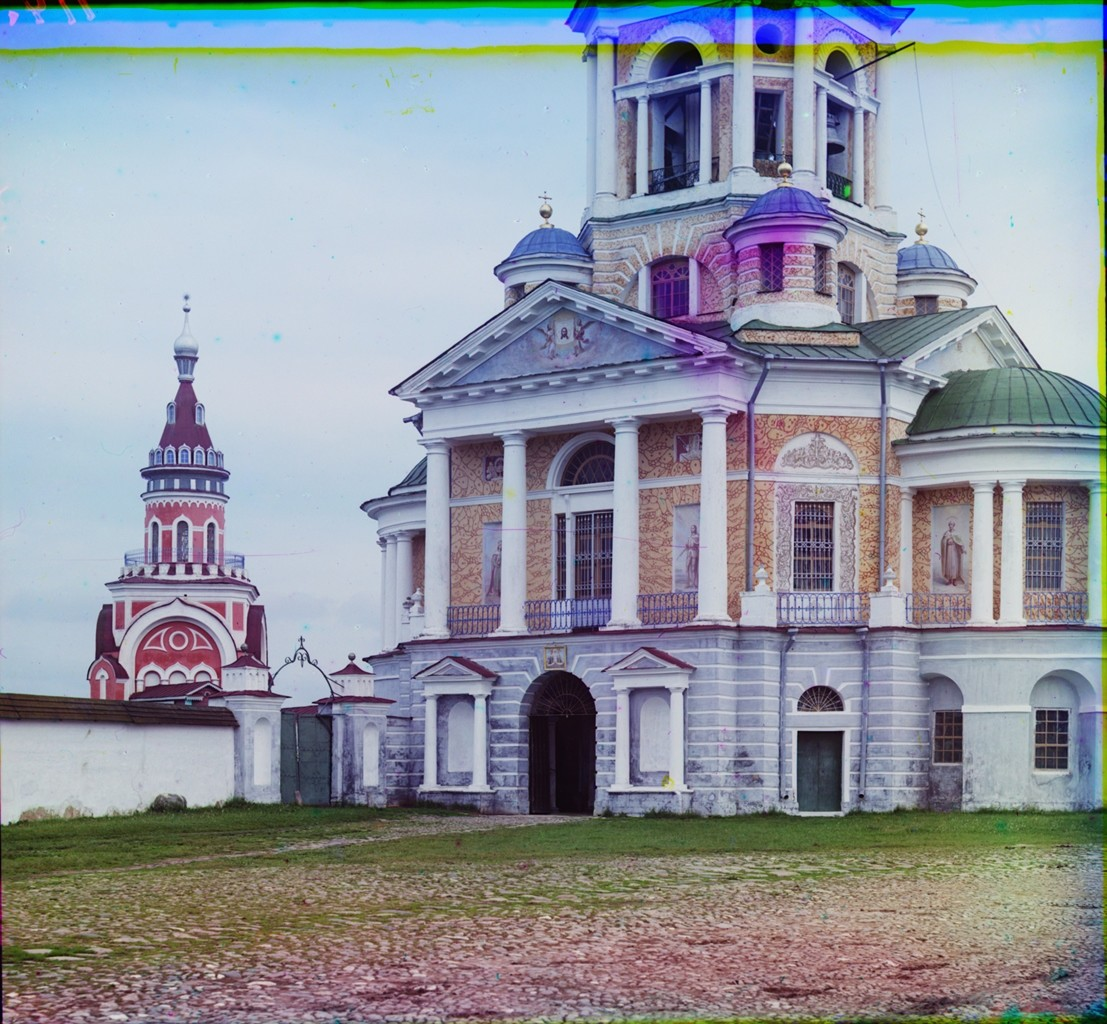 Bell tower & Church of the Miraculous Image of the Savior over Holy Gate, lower tier, northwest view. Left: