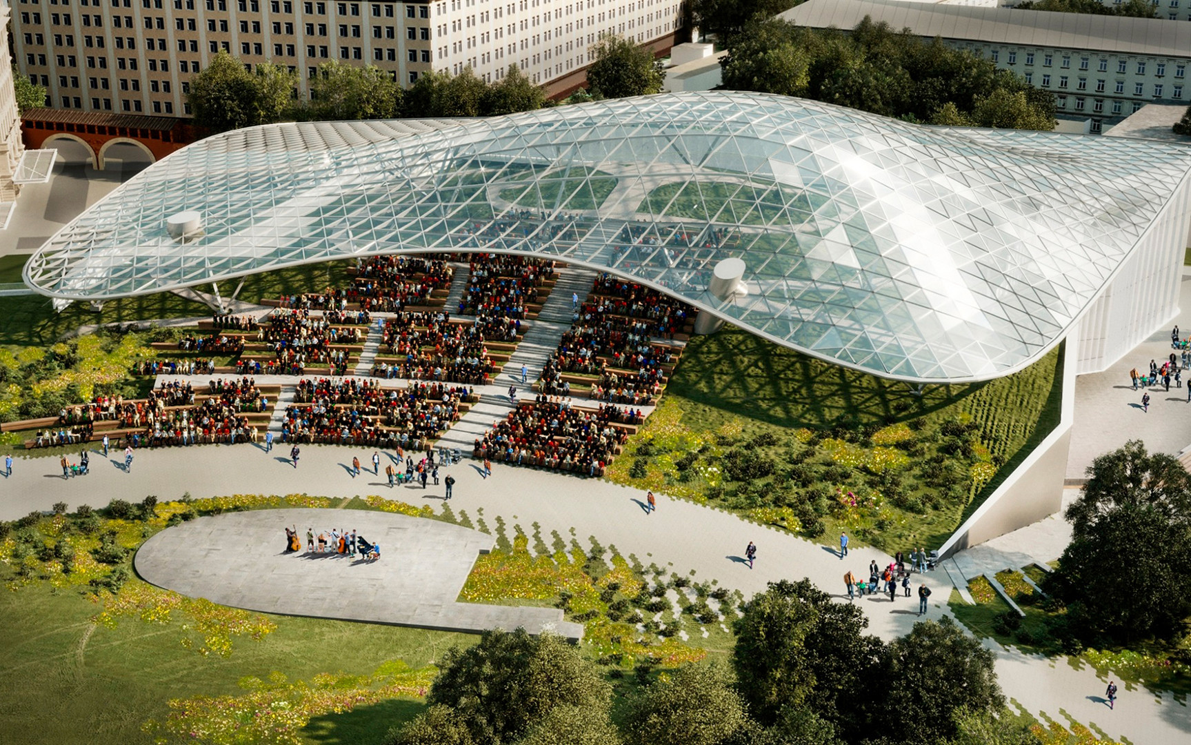Estrutura de vidro na cobertura permite manter o calor no anfiteatro.