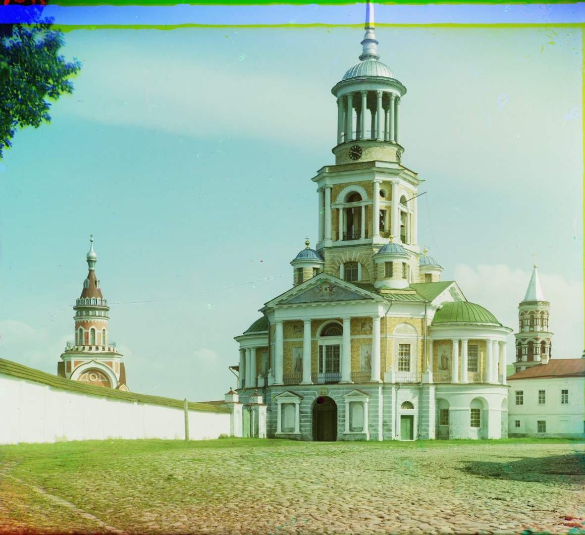 Monastery of Sts. Boris & Gleb. Bell tower & Church of the Miraculous Image of the Savior over Holy Gate, northwest view. Left: