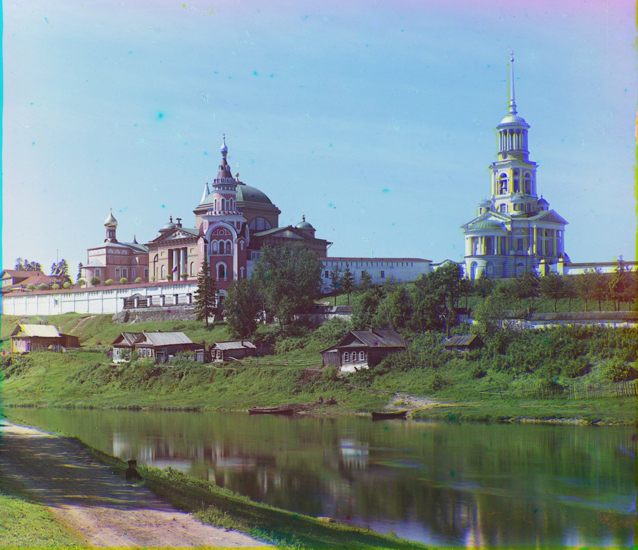 Monastery of Sts. Boris & Gleb. Northeast view from east bank of Tvertsa River. Summer, 1910