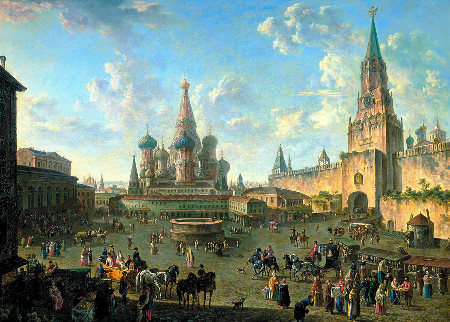 Red Square in Moscow with St. Basil's Cathedral in the center of it.