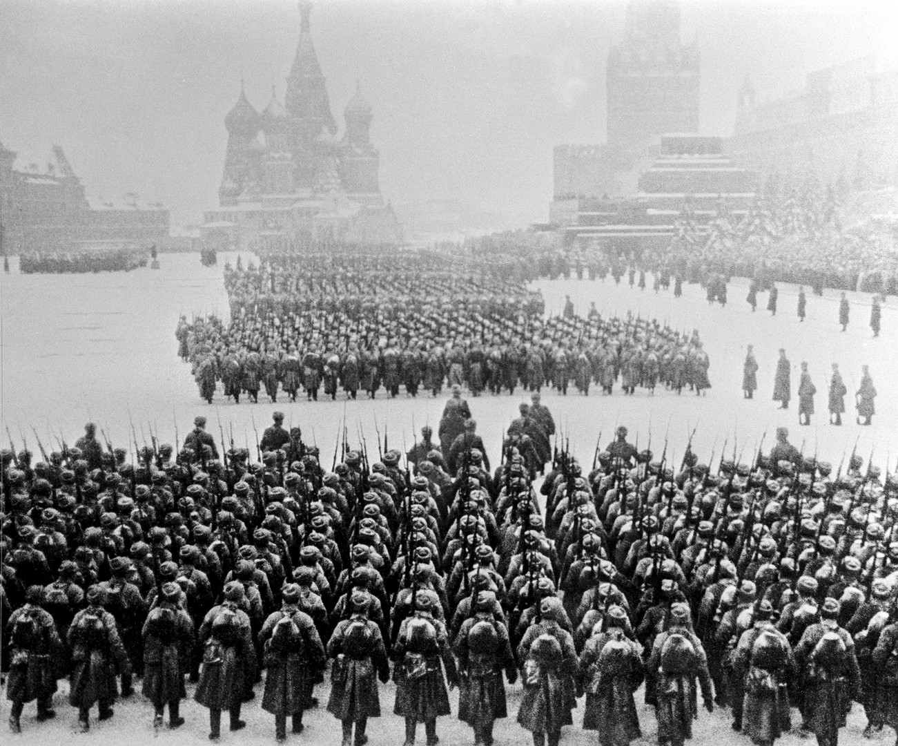 November 7, 1941. Soviet troops parade past the Kremlin and march on to the front line.