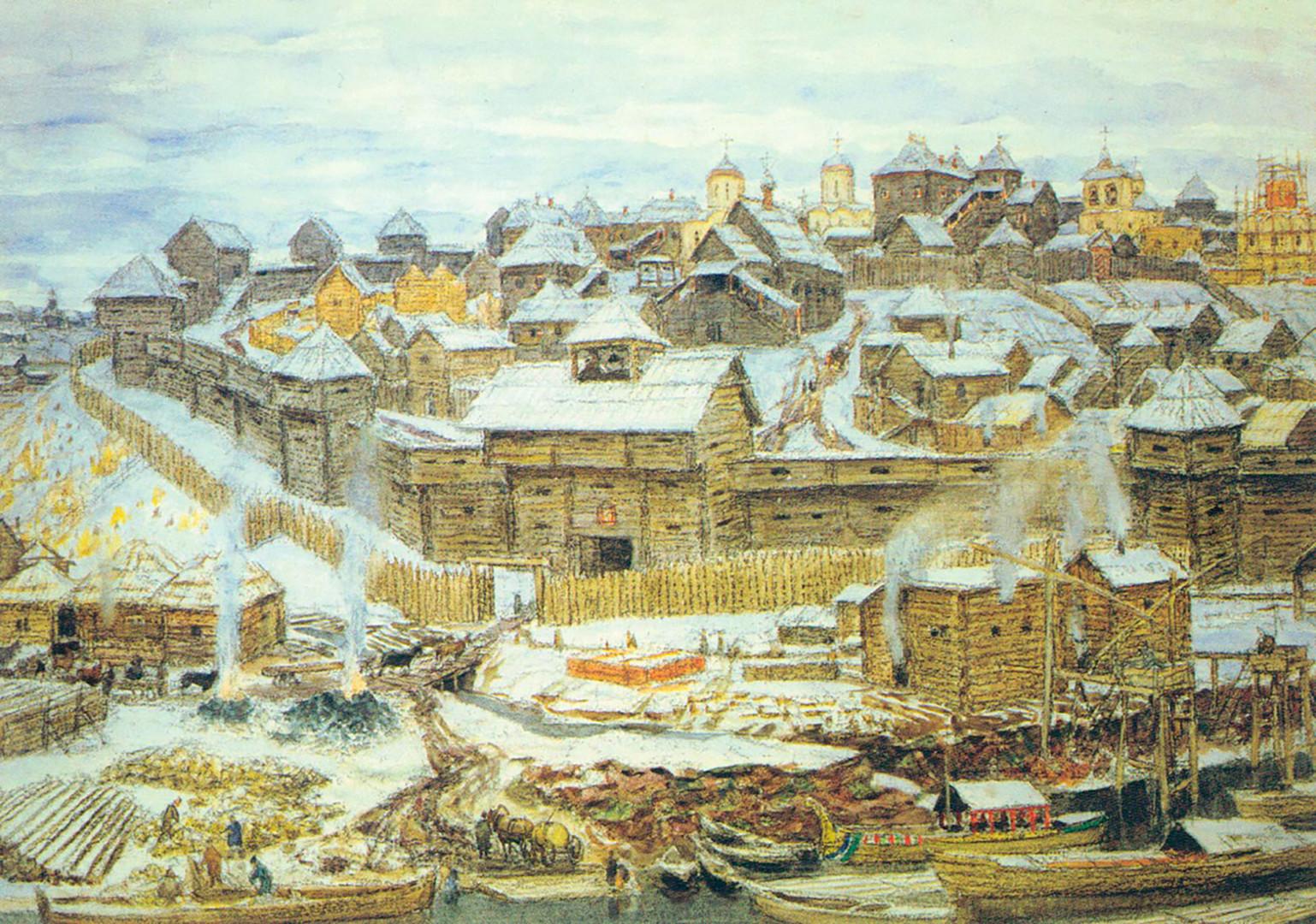 El Kremlin de Moscú durante los tiempos de Iván Kalitá, obra de Apollinari Vasnetsov, 1921.