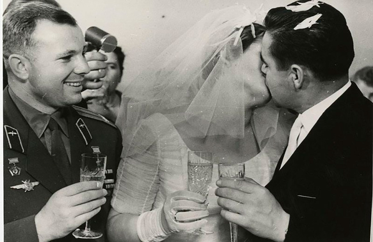 The wedding of Valentina Tereshkova and Andriyan Nikolayev. Nikolayev flew on two spaceflights: Vostok 3 in 1962 and Soyuz 9 in 1970. On both, he set new endurance records for the longest time a human being had remained in orbit. Nov. 3, 1963.