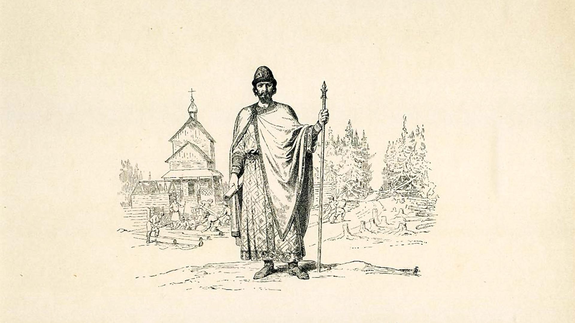 Jurij Dolgoruki, ki se mu tradicionalno pripisuje ustanovitev Moskve, v upodobitvi zgodovinarja Vereščagina.