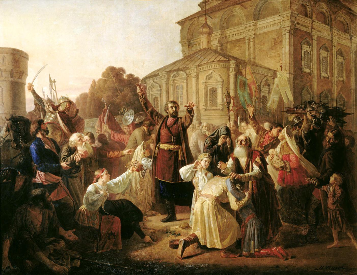 Kuzma Minin kliče Ruse k orožju, da bi Moskvo osvobodili izpod Poljakov.