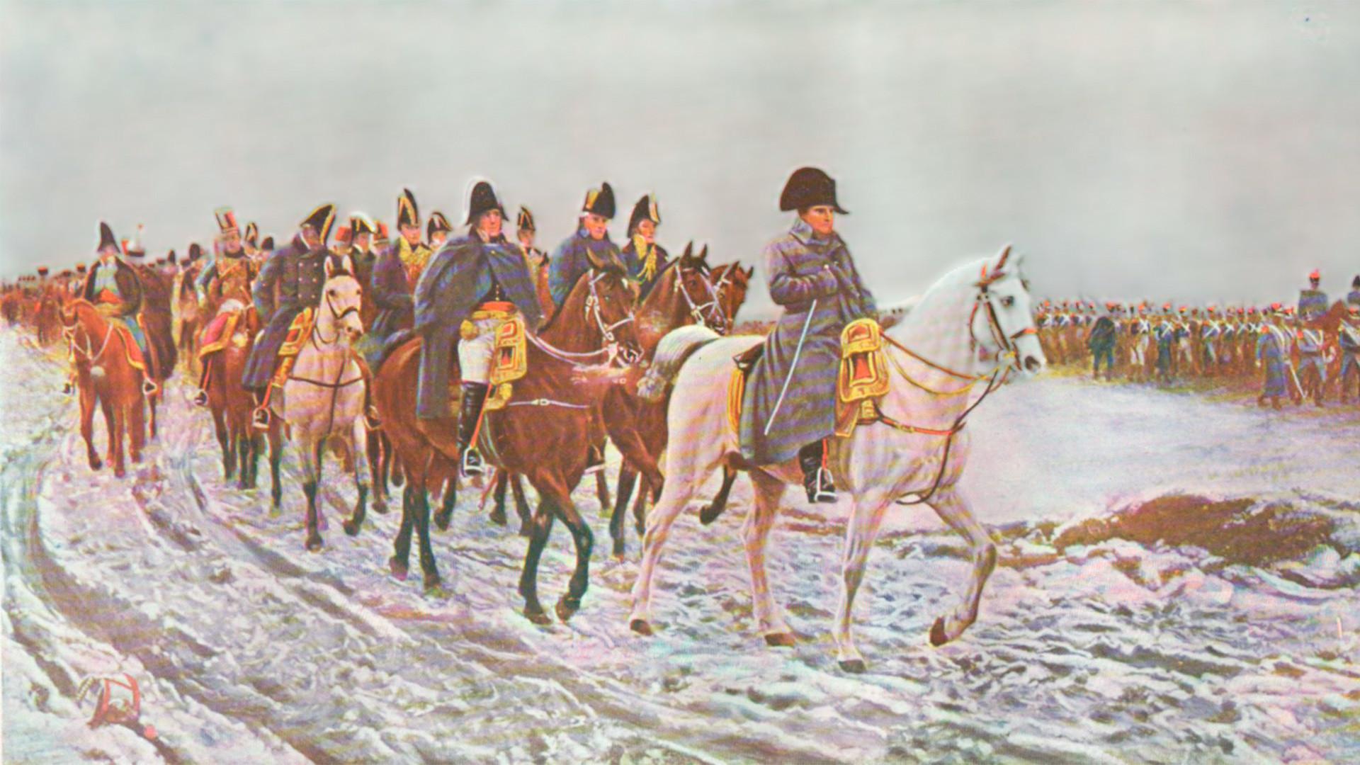 Napoleonova vojska po vojaškem porazu v Rusiji.