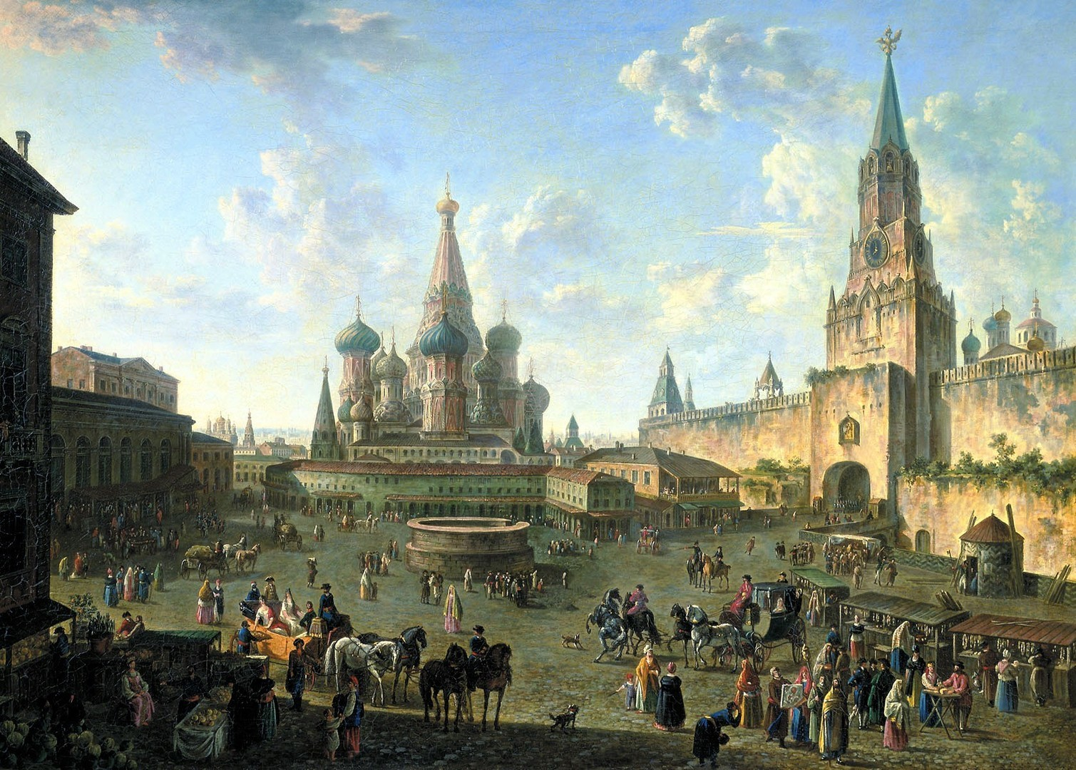 """Црвениот плоштад во Москва со храмот """"Св. Василиј Блажени"""" во центарот."""