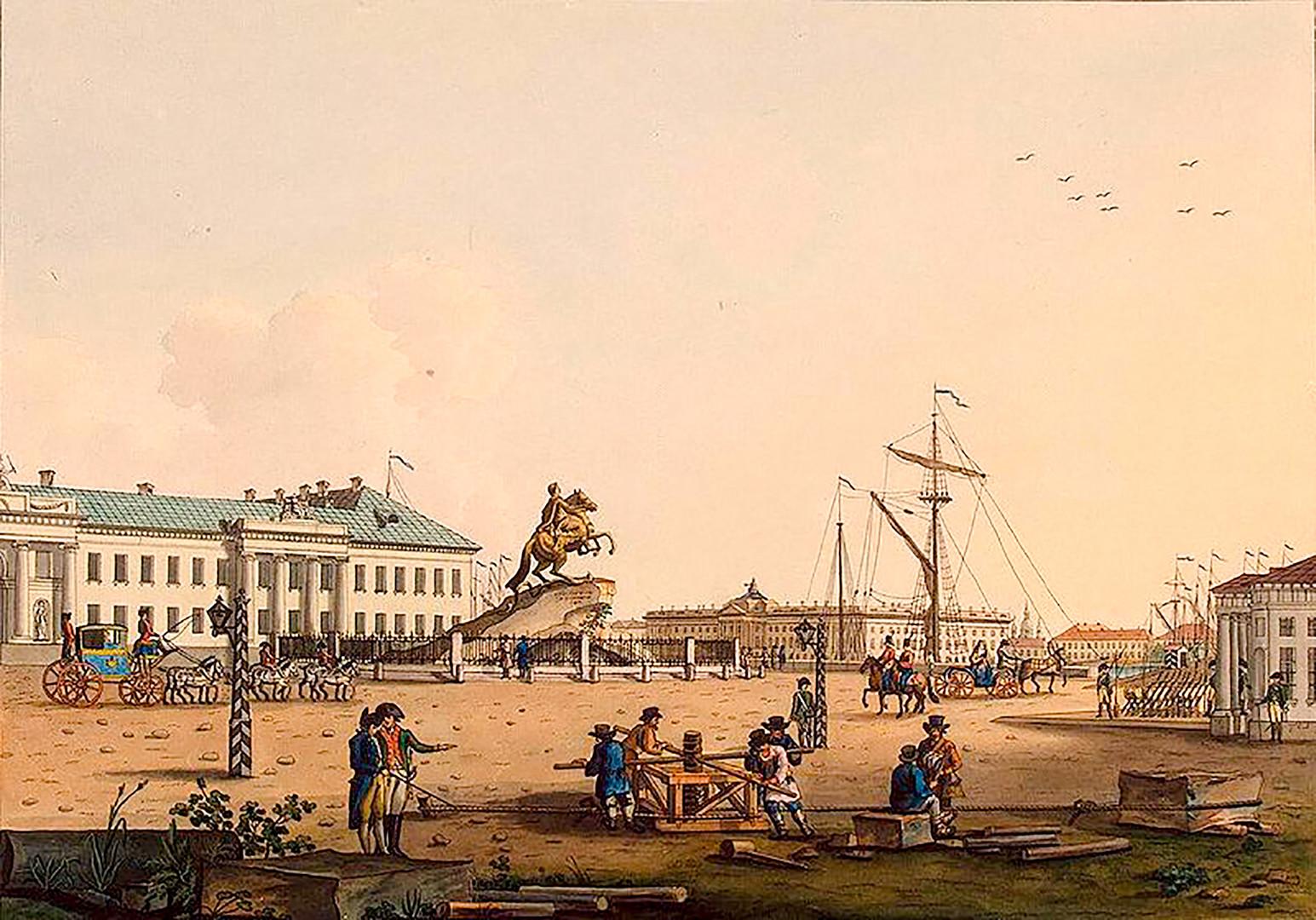 La plaza Senátskaia en San Petersburgo, obra de K. Ludwig