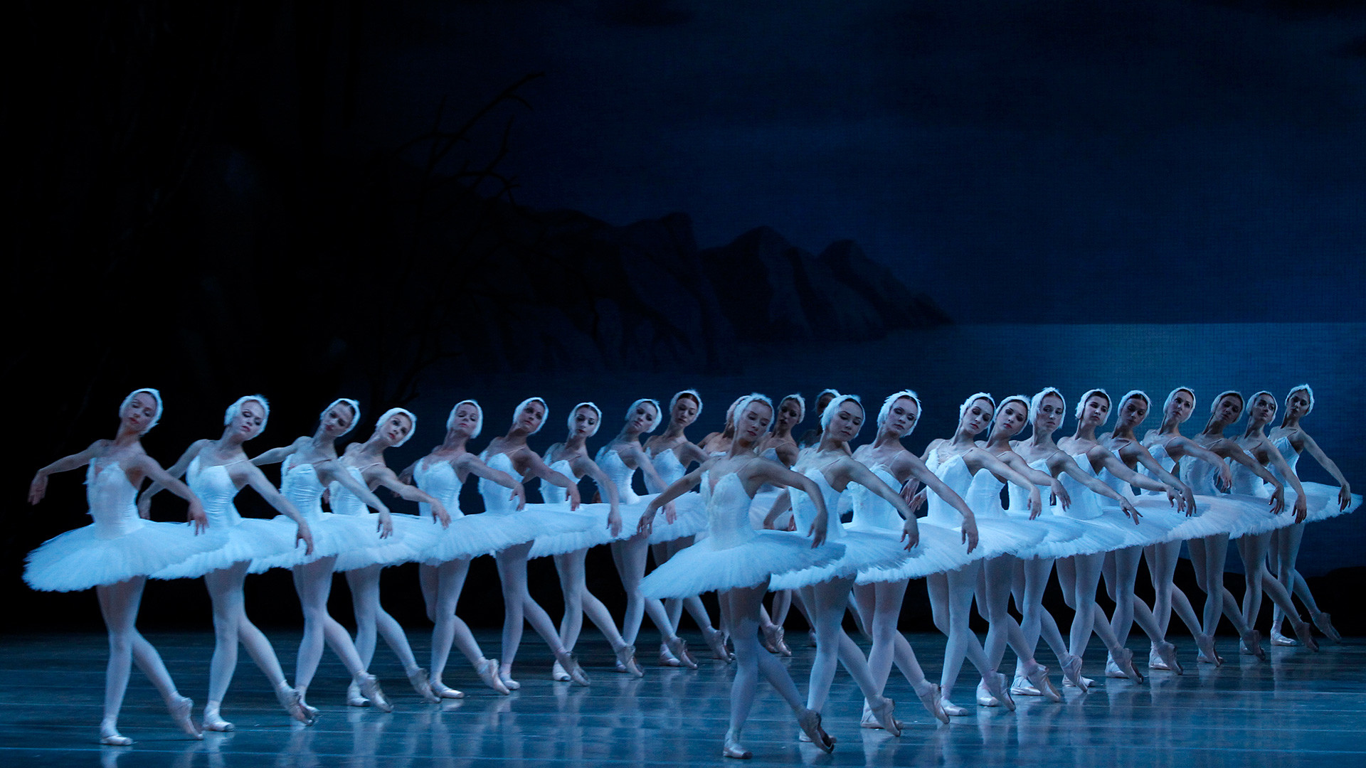 Artists of the Mariinsky theatre perform Swan Lake during a rehearsal.
