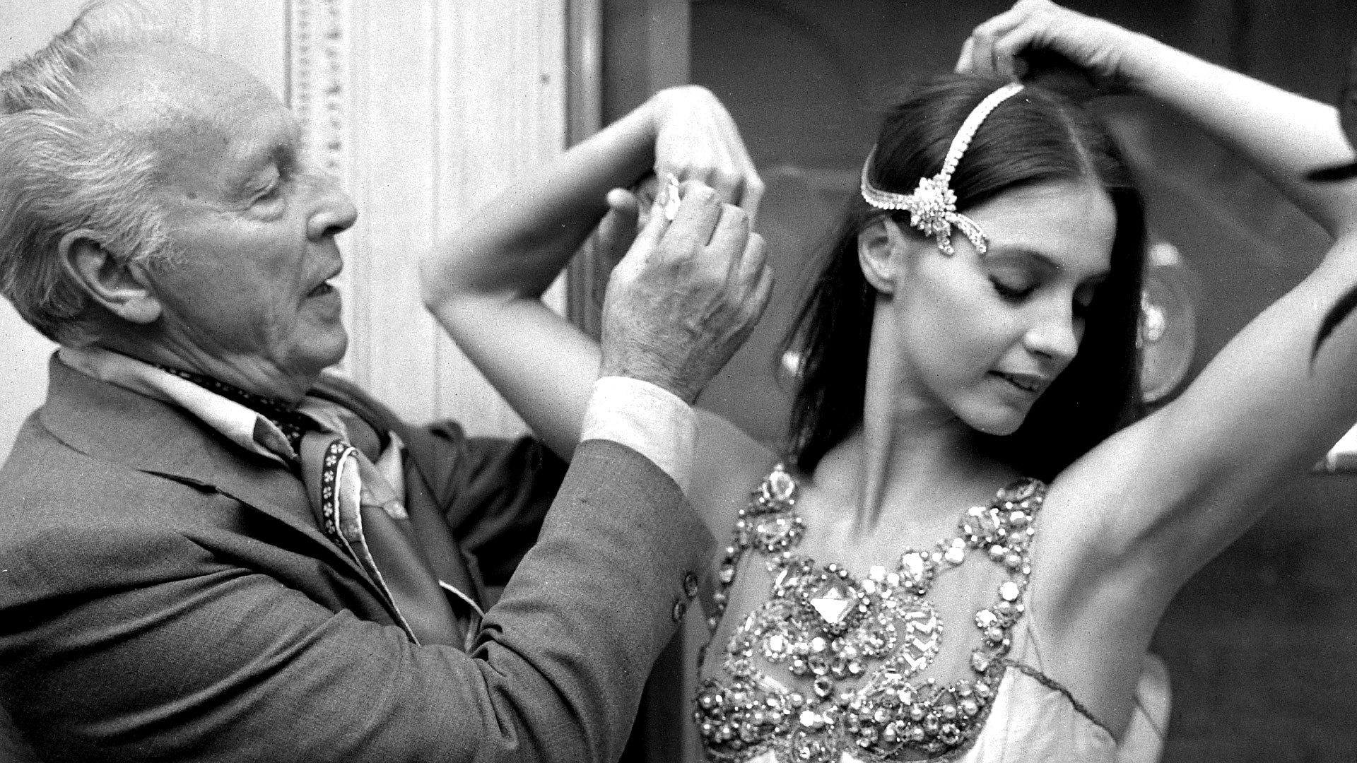 George Balanchine and dancer Suzanne Farrell wearing Van Cleef and Arpels jewelry for Balanchine's ballet