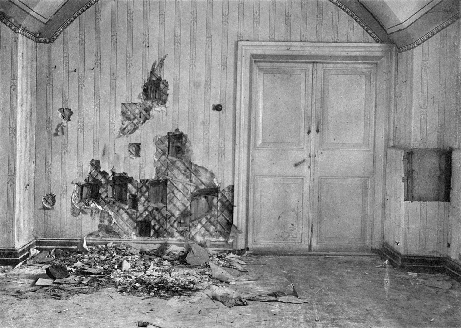 Room in the Ipatiev House, Yekaterinburg, where the Russian Royal family was murdered, 1918.