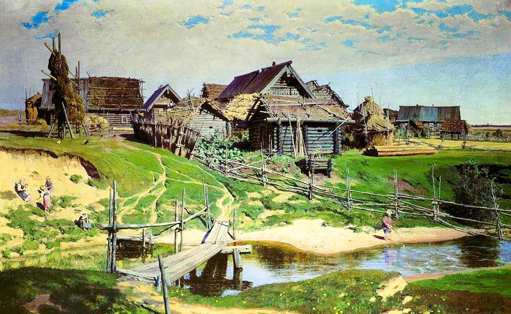 """Vassíli Polenov. """"Vilarejo russo"""", 1889"""