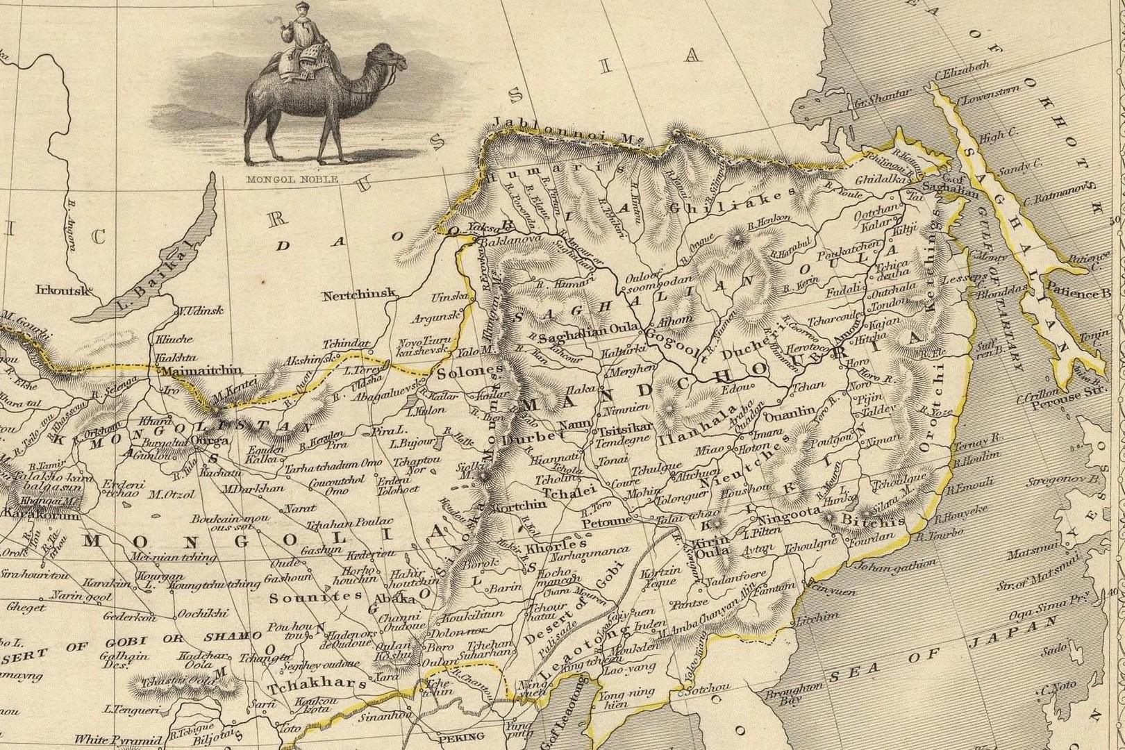 Karte von John Tallis, 1851: Hier wird erstmals der Begriff Mandschurei benutzt. Vorher war stets von