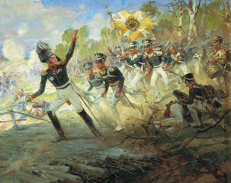 """1812 година, Николај Семјонович Самокиш, """"Подвигот на војниците на генералот Н. Н. Раевски кај Салтановка на 11 јули 1812 година""""."""