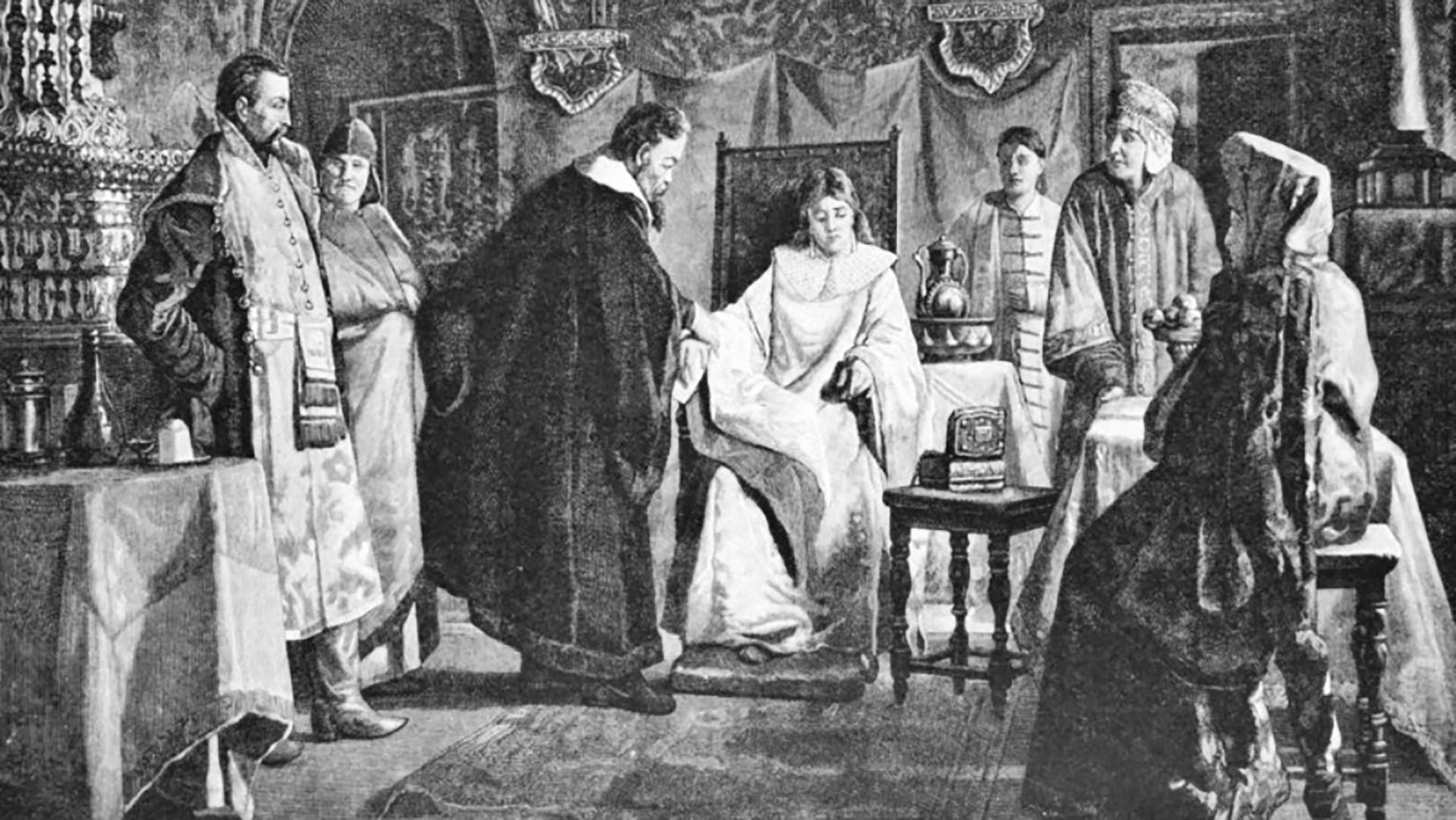 Maria Iwanowna Chlopowa, die Braut des Zaren Michail (von Nikolai Nevrev)