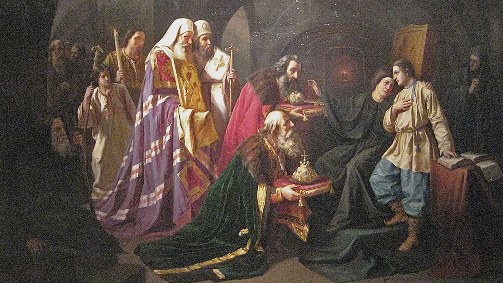 Poziv Mihailu Romanovu, naj prevzame krono. Delo slikarja Nikolaja Šustova.